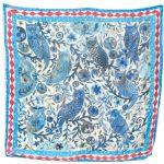 Blue Owls 100% silk scarf