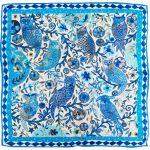 Blue Owl 100% Silk Scarf
