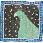 Green Bird 100% silk scarf