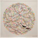 mandala nest - belgian linen - framed