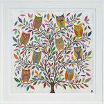 owl tree - large framed print