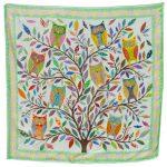 Owl Yellow Green Star 100% silk scarf
