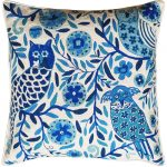 Pacific Blue Owls large cushion - no insert