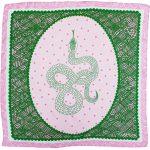 Pink Green Snake 100% Silk Scarf