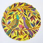 yellow love birds - original painting on paper