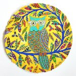 yellow owl - original painting on paper