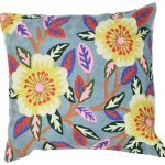 Grey Yellow Flower Cushion
