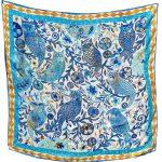 Tangerine Blue Owls 100% Silk Scarf