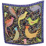Violet bird gathering 100% Silk Scarf