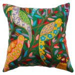 Green Chirping Birds Cushion