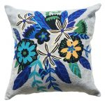 Grey Blue Flowers Cushion