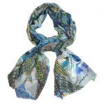 Blue Bouquet 100% Wool Scarf